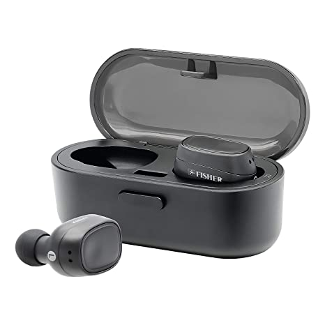 cc9955ffb6e Amazon.com: Fisher True Wireless Earbuds and Charging Case, Earphones with  Auto Pairing and Built-in Mic (Black): Electronics