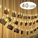 Ghirlanda di luci LED con mollette per appendere foto – 40 mollettine per foto, decorazione lunga 5 m alimentata a batterie