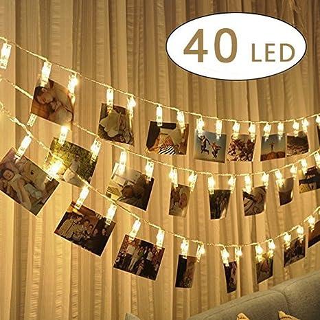 81f6ac6b0a9 Clip cadena de luces LED - 40 Fotoclips 5M plana Betri batería Bildleuchten  Pinzas LED para
