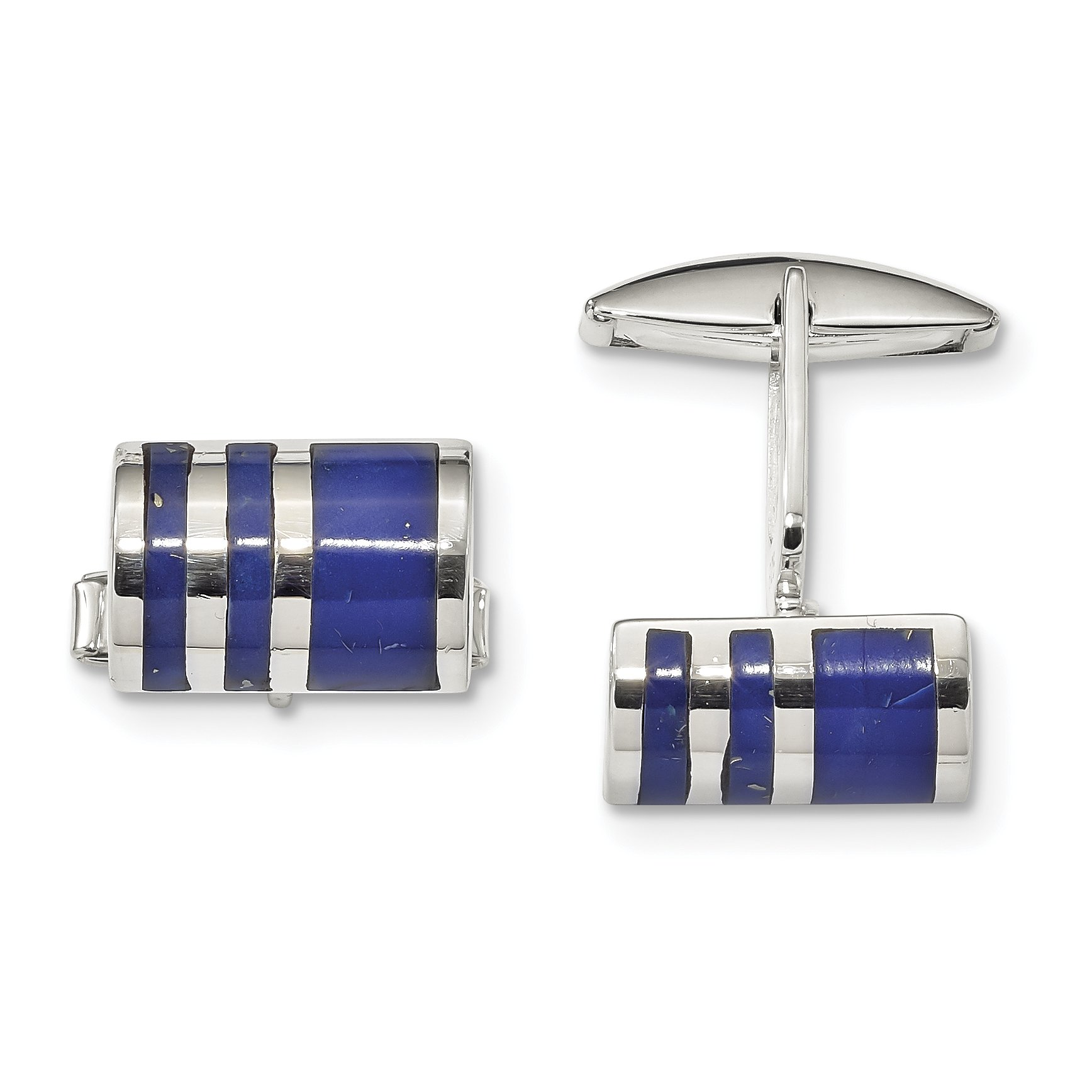 ICE CARATS 925 Sterling Silver Lapis Cuff Links Mens Cufflinks Link Fine Jewelry Dad Mens Gift Set