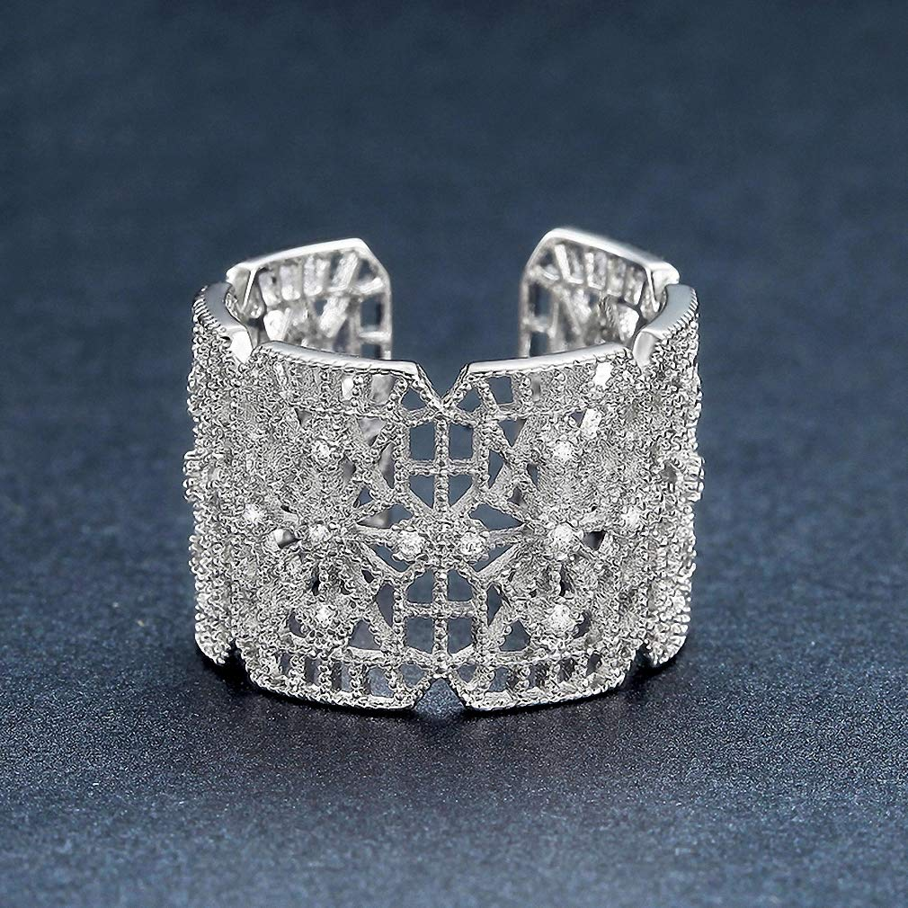 Ronliy Geometric Hollow CZ Stone Rings for Women White Gold Color Cocktail Rings