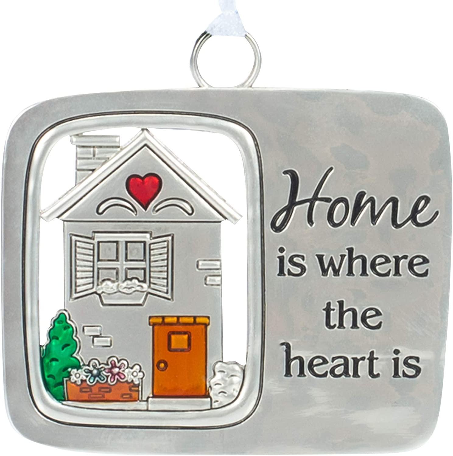 Everyday G Home is Where The Heart Silver Tone 3 x 2 Zinc Metal Decorative Hanging Ornament