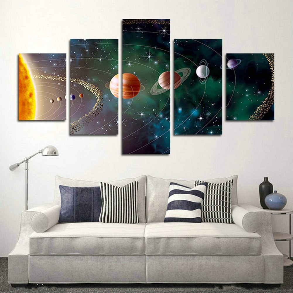 SwmArt 5 Piece Solar system, planets, Earth Sciences by satellite Cosmos silk Canvas posters, children bedroom decoration posters science(50''W x 28''H, Framed)