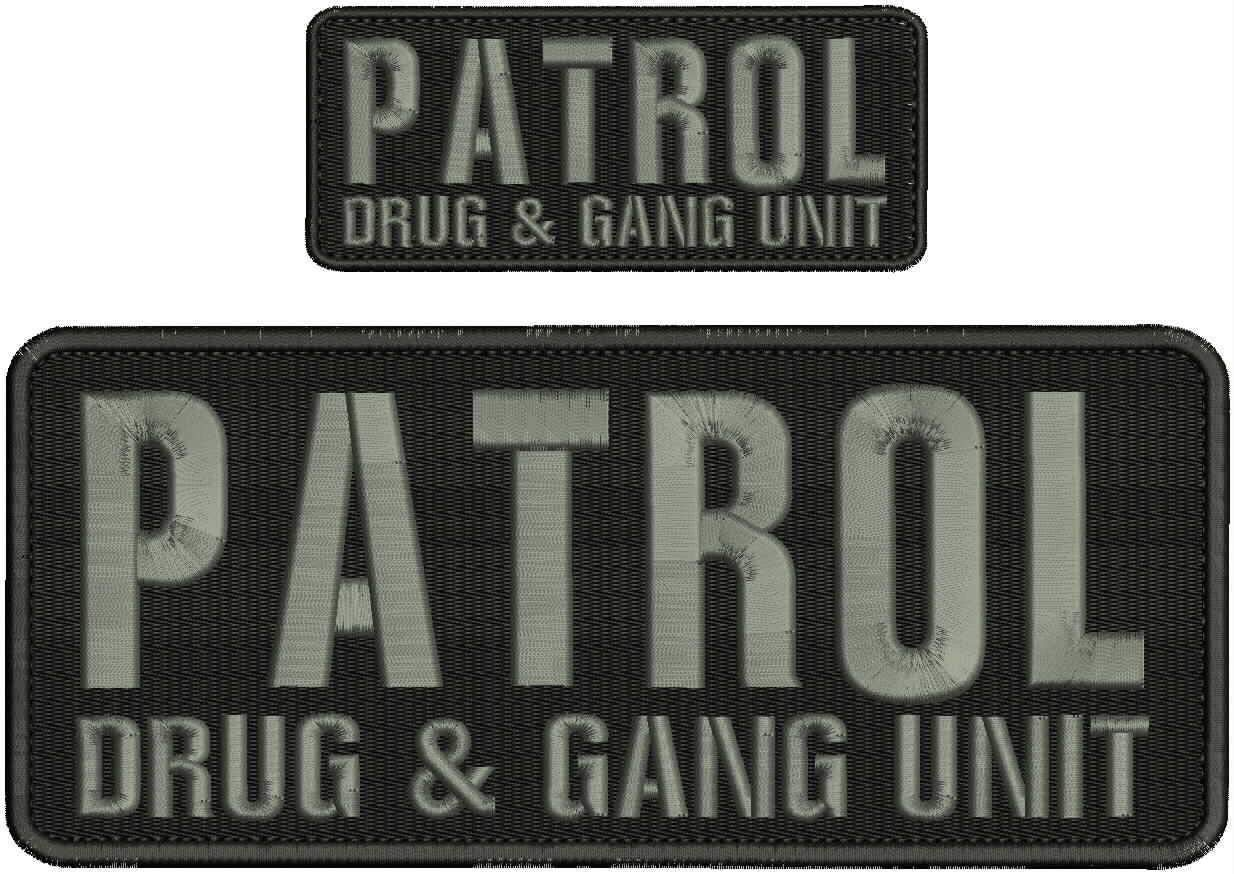 Embroidered Patch - Patches for Women Man - Patrol Drug and Gang Unit Hook Grey by Patcherer