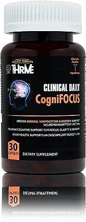 CLINICAL DAILY CogniFocus Ginkgo Biloba, Phosphatidylserine Brain Supplement for Focus. Concentration Booster Improves Memory. Nootropic Mind Health Enhancer Vitamins Support Energy. 30 Capsules – 2pk