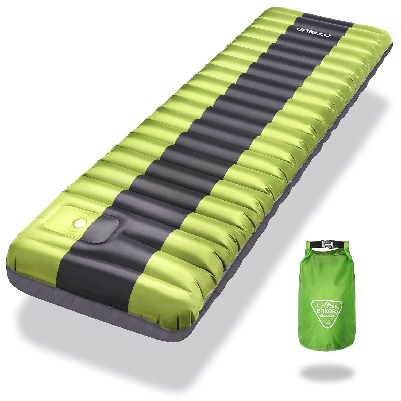 ENKEEO Esterilla Inflable, Ultraligero Cama Inflable Colchón de Aire Sleeping Pad al Aire Libre para