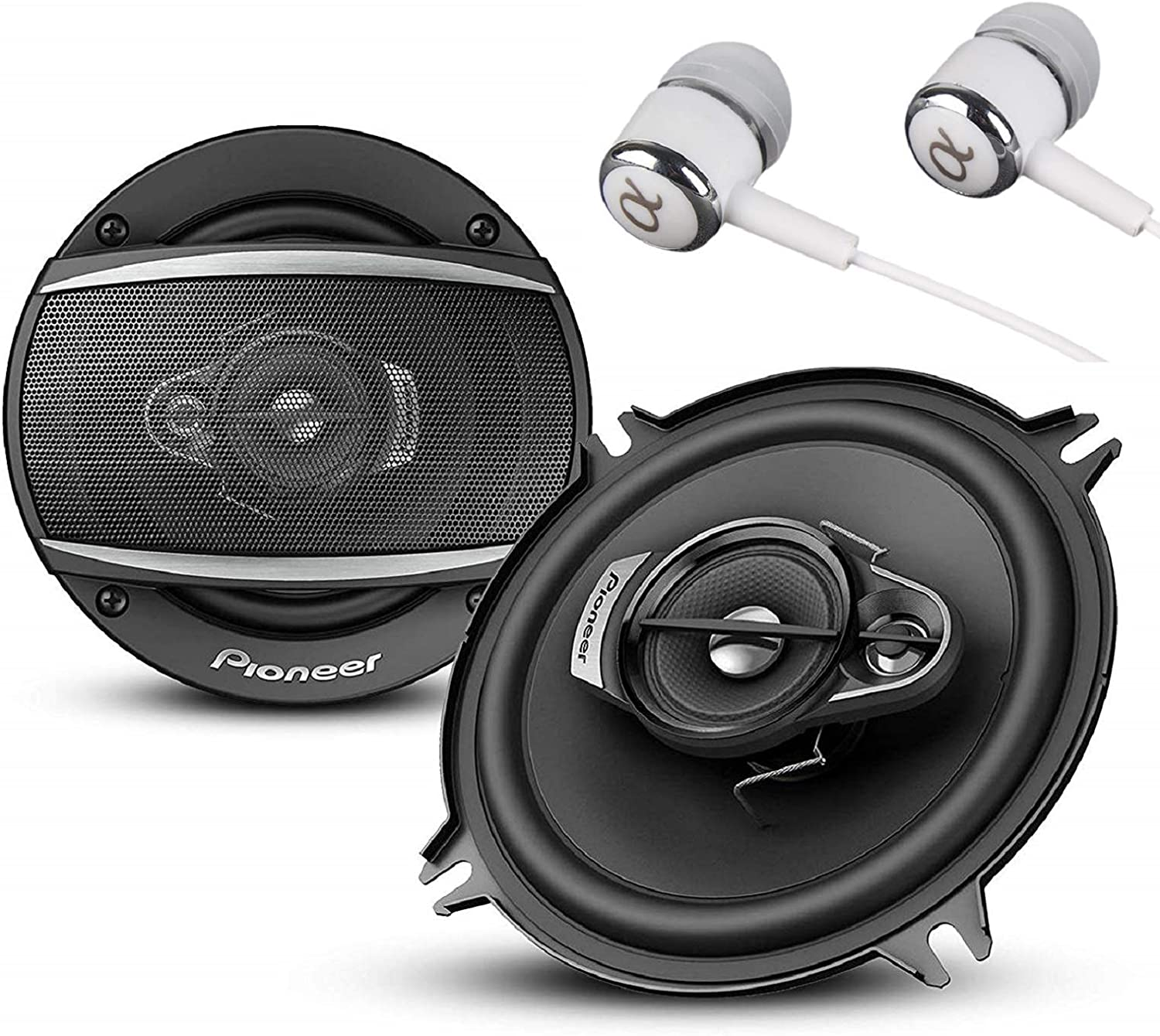 """Cone Construction w//Free ALPHASONIK Earbuds TSA1376R IMPP Pioneer TS-A1370F A Series 5.25/"""" 300 Watts Max 3-Way Car Speakers Pair with Carbon and Mica Reinforced Injection Molded Polypropylene"""