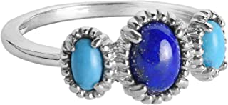 product image for Carolyn Pollack Sterling Silver Blue Lapis and Blue Turquoise or Pink and White Mother of Pearl Gemstone Three Stone Ovals Ring Size 6 to 10
