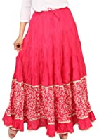 Carrel Cotton Fabric Women Bottom Print Long Skirt(AGSPL-3187-YIE-SK)