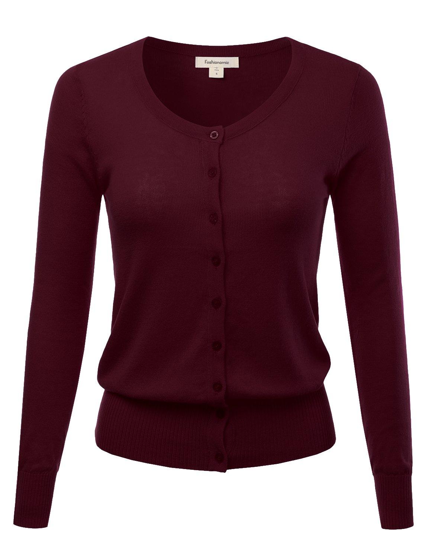 FASHIONOMIC Women's Button Down Crew Neck Light Weight Long Sleeve Knit Cardigan Sweater (S-45X) (CLLC001) Burgundy 1X
