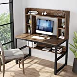 Tribesigns Computer Desk with Hutch, Modern Writing Desk with Storage Shelves, Office Desk Study Table Gaming Desk Workstation for Home Office, Vintage + Black Legs