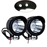 Fangxin, Coppia di faretti/fari/lampade a LED per faro anteriore 12-80 V, 3 W, involucro in metallo, per moto o bicicletta, colore nero