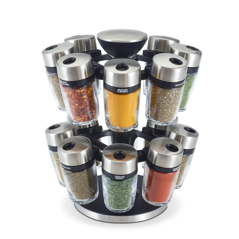 Cole & Mason H121808U 16 Jar Herb & Spice Carousel, Medium, Silver by Cole & Mason