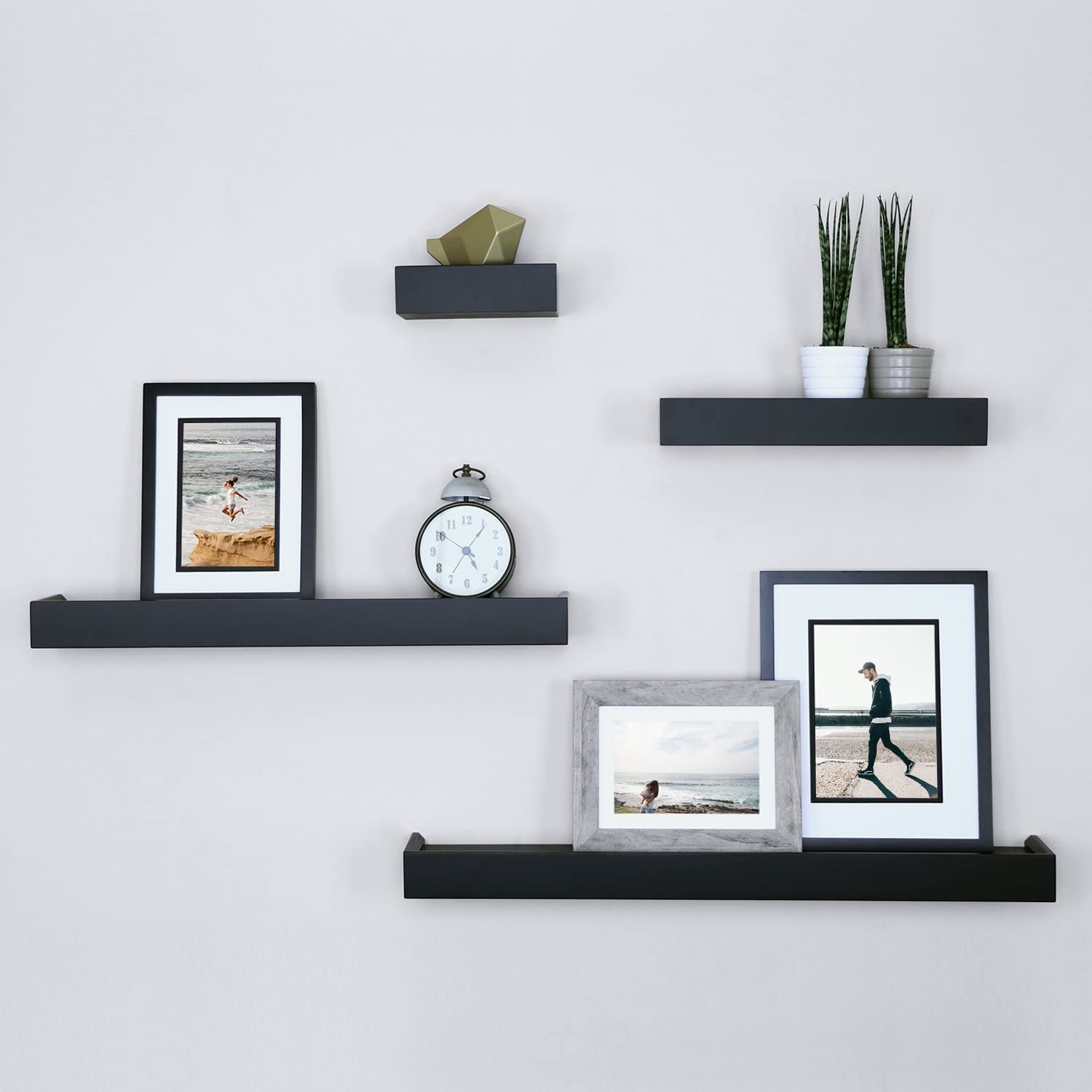 Ballucci Modern Ledge Wall Shelves, Set of 10, Black