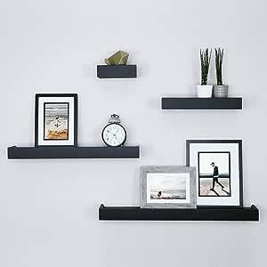 Ballucci Modern Ledge Wall Shelves Set Of 4 Black Furniture Decor