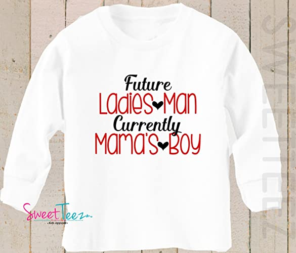 083d12b5d Image Unavailable. Image not available for. Color: Valentine's Shirt Boy  Future Ladies Man Currently Mama's ...