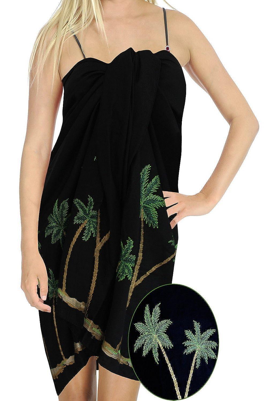 La Leela Rayon Palme 5 in einem Bademode / Badeanzug vertuschen / Tunika / sundress / Bikini Schlitz Rock / Damen Pareo / plus Größe Badeanzug Sarong langes Kleid 198x99 cm wickeln