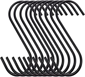 ALLINONE 30 Pack Black Heavy Duty S Hooks Steel Hanging Hooks for Hanging Pan, Cups, Jeans, Plant, Towels