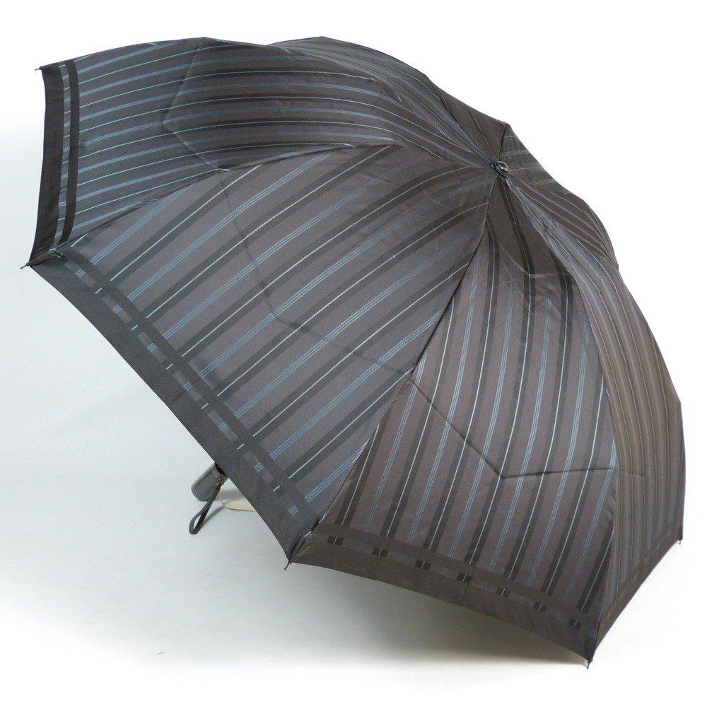 高級甲州織 メンズ 折りたたみ傘 「Tie」 ストライプ  無地 GRAY灰色 江戸時代から140年以上の歴史を持つ甲州織の老舗傘メーカー 槙田商店 紳士用 高級傘 B019M81A36ブラック/グレー(6722)