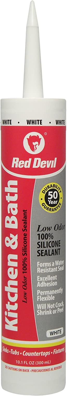 Red Devil 0836 Kitchen & Bath Low Odor Silicone Sealant, 10.1 Oz, White, Pack of 1