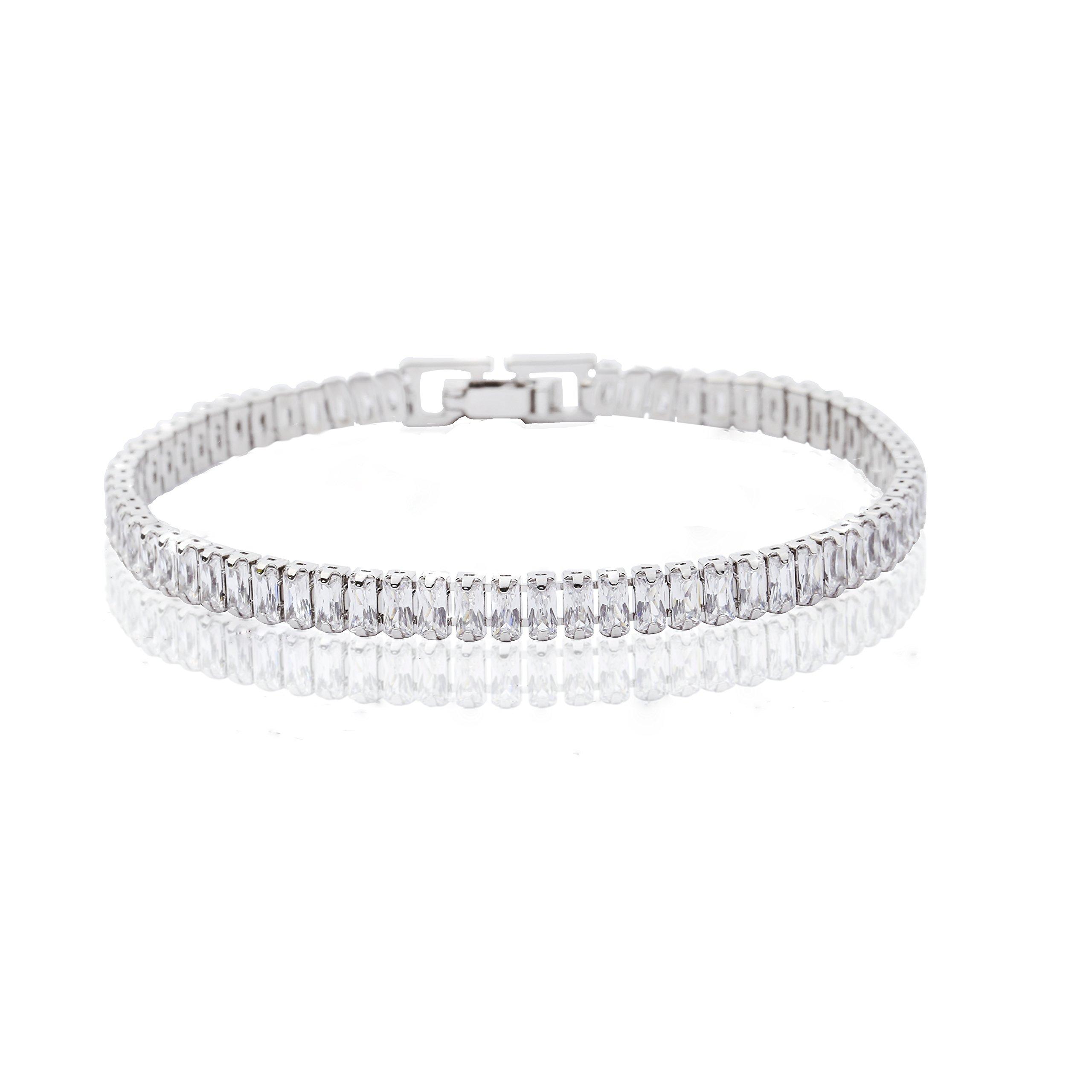 MYKEA Women's Simple Elegant Tennis Bracelet 925 Sterling Silver with Sparkling Radiant Cut Crystal Swarovski Cubic Zirconia Jewelry for Women Girls Gift Idea