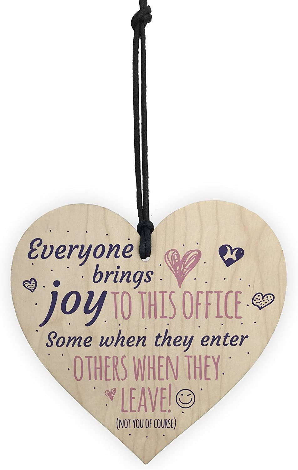 Meijiafei Bring Joy to The Office Colleague Novelty Wooden Hanging Heart Leaving Gift Home Office Plaque