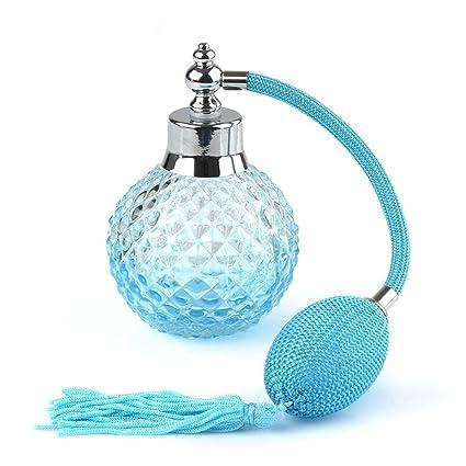 PIXNOR 100ml vacío cristal recambio Spray botella atomizador de Perfume (azul)
