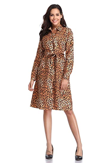 e725752bc69 JUNBOON Women s Leopard Print Dress Long Sleeve Button Down Casual Shirt  Dress with Belt at Amazon Women s Clothing store