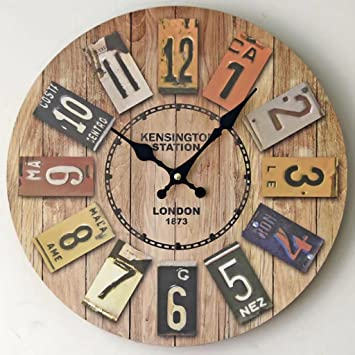 Reloj de pared de 34 CM Reloj de pared retro americano de la sala de estar del país ...