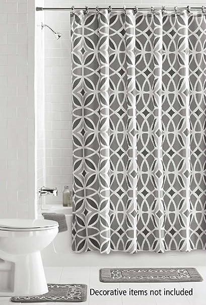 Charmant 15 Piece Bath Set: 2 Gray Bathroom Mats, 1 Matching Shower Curtain, 12