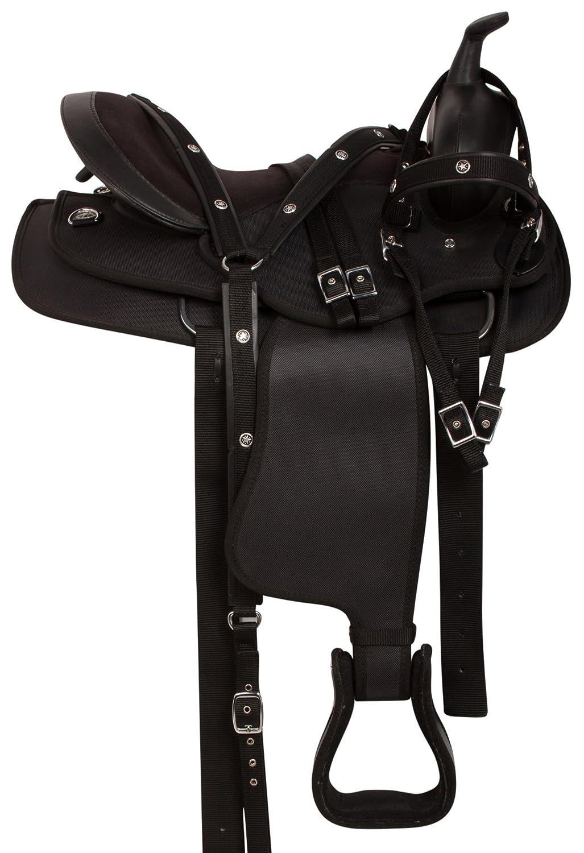 ブラック快適Gaited Western Pleasure Trail Light Weight合成HorseサドルBridle Reins Breast襟パッド含ま 15  B07664ZVPG