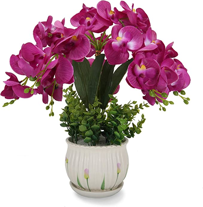 Artificial Orchid Flower Plant with White Vase For Home Decor with A Bag of White Sand