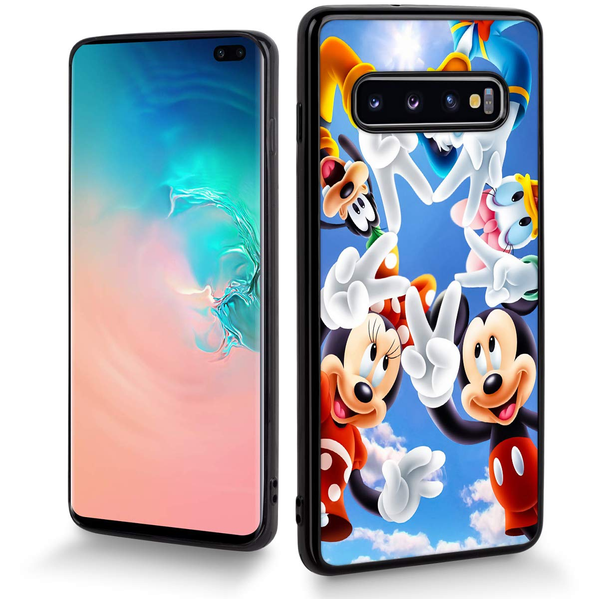 a97db5cec8 Amazon.com: DISNEY COLLECTION Cartoon Cute Phone Case Fit for Samsung  Galaxy S10+(6.4 inch) Mickey with Friends Bumper Shockproof Protective  Black Cover: ...