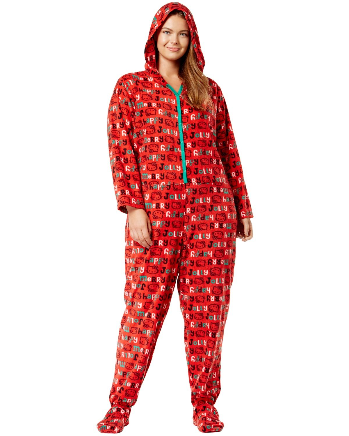 Hello Kitty Womens Plus Size Snuggle Up Hooded Footed Jumpsuit Pajama 2X Red