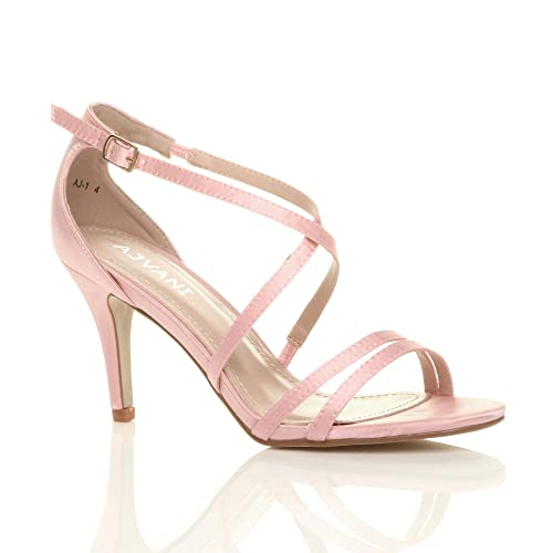 Ajvani Womens Ladies mid high Heel Strappy Crossover Party Wedding Prom Sandals Shoes Size