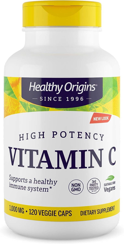 Healthy Origins Vitamin C 1,000 mg (Non-GMO Tested, High Potency, Immune Support, Vegan), 120 Veggie Caps