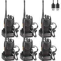 Baofeng 888s Talkie Walkie Longue Distance Two Way Radio USB Rechargeables avec des écouteurs Originaux Construit en Torche LED pour Adulte (6 pcs)