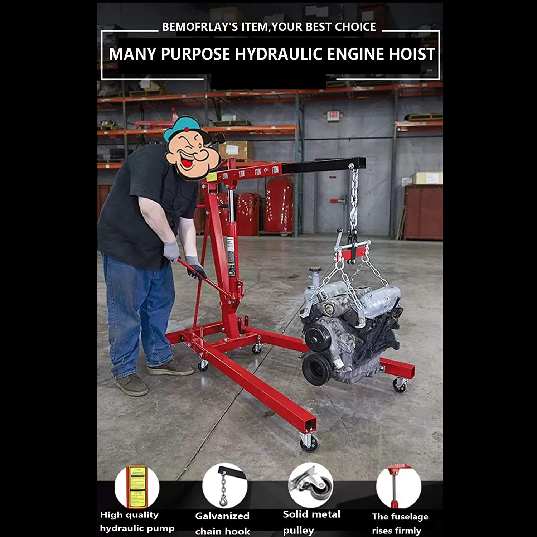 Tools & Equipment Engine Hoist 2 TON Single Pump Folding Hydraulic ...