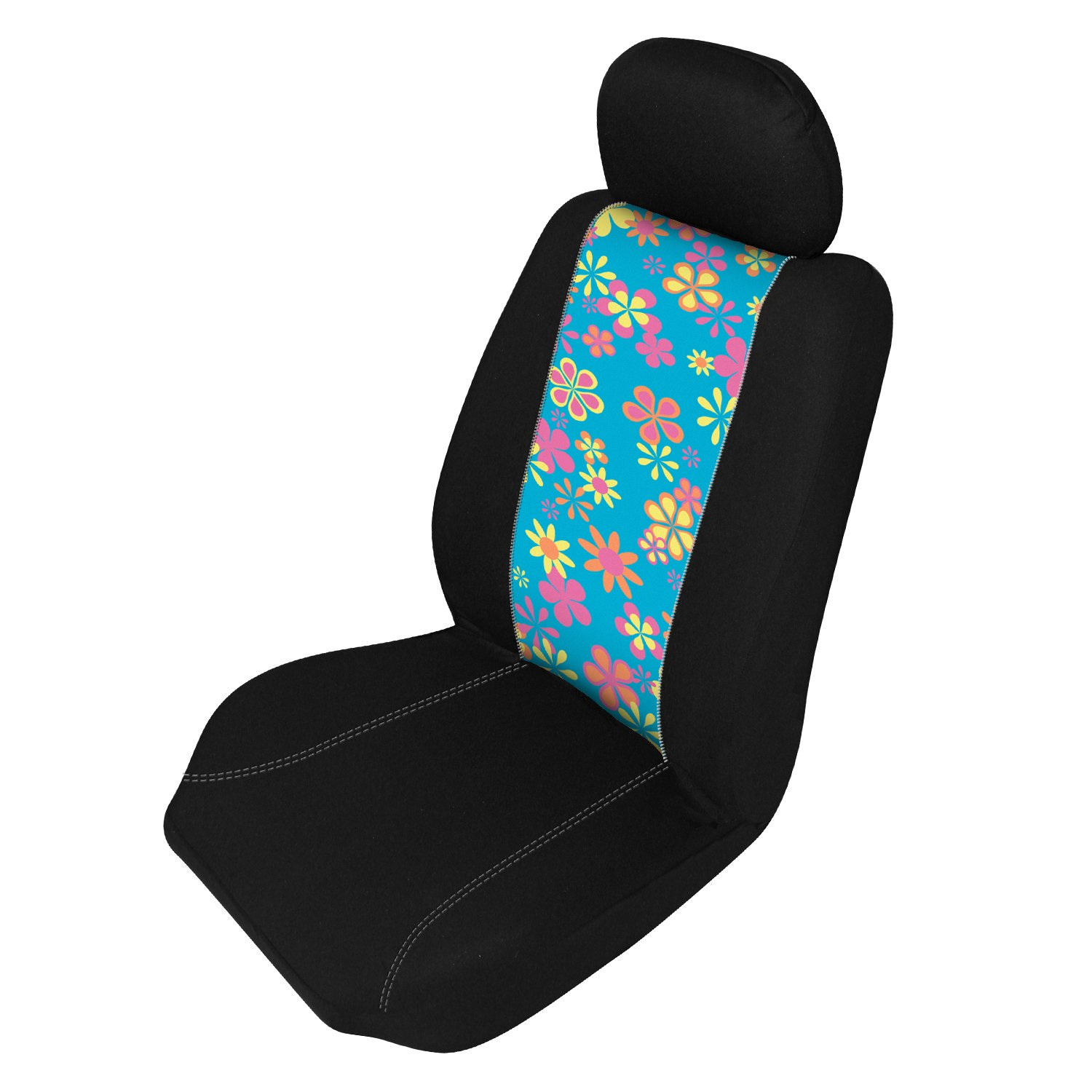Automotive Innovations Multi-Color Polyester Front Bucket Universal Fit Retro Flowers Zip Switch Insert E 370508