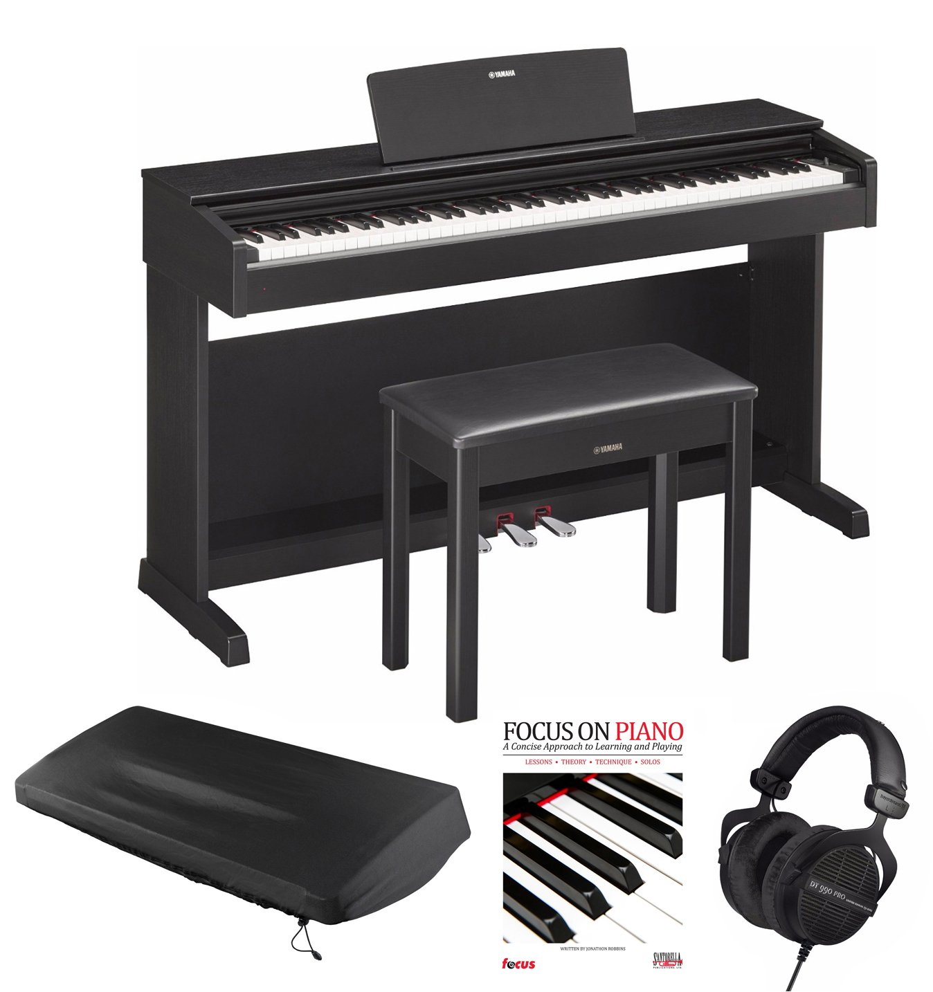 Yamaha YDP143B Digital Piano with Beyerdynami DT990 Headphones and Accessories