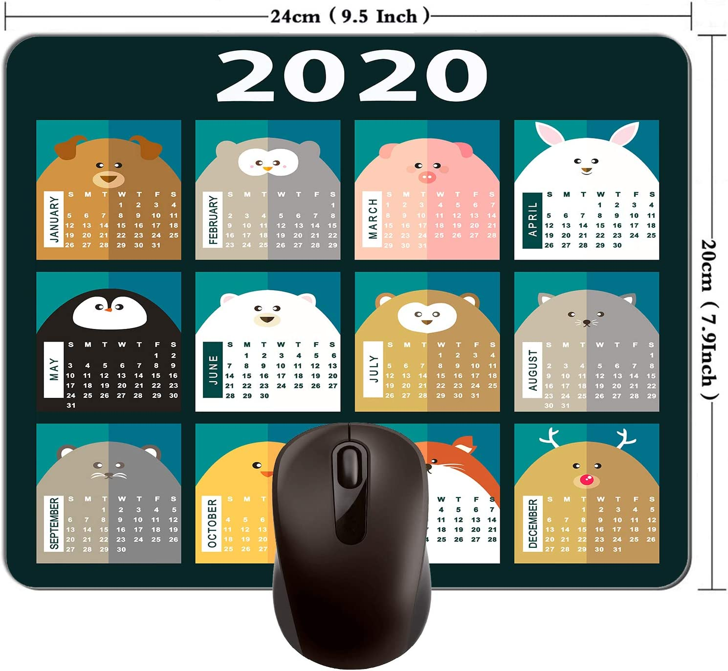 2020 Calendar Mouse Pad Computer Accessories Mouse Pad Game Mouse Pad Office Mouse Pad Rectangular Non-Slip Neoprene Mouse Pad 240mm x 200mm x 3mm