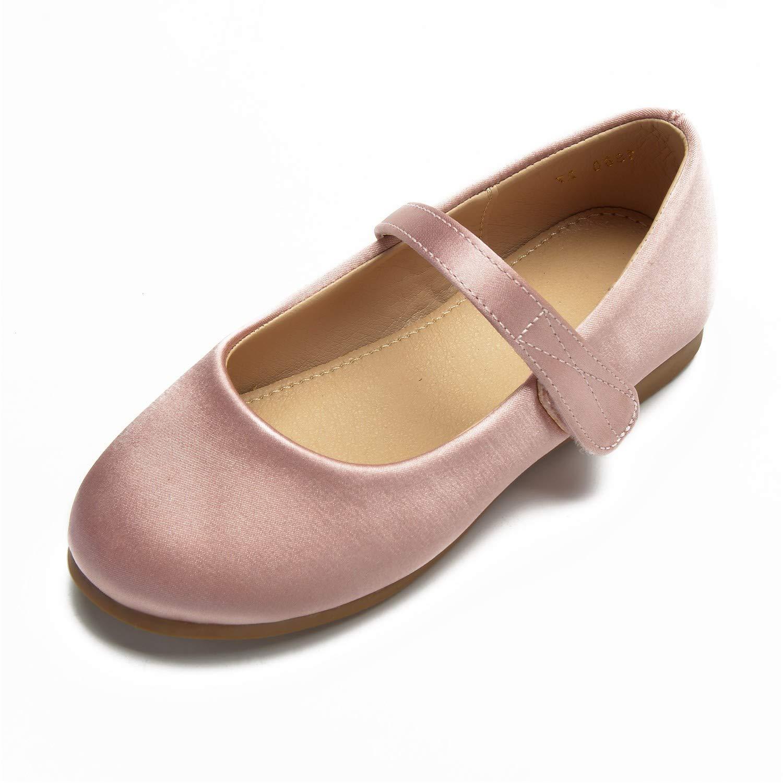 Zxstz Chaussures pour Filles Satin Printemps Girl et Eté Ballerina Flower Girl Printemps Chaussures Flats Strass Boucle pour Enfants Blanc Ivoire Mariage 30|Rose b4e6d3