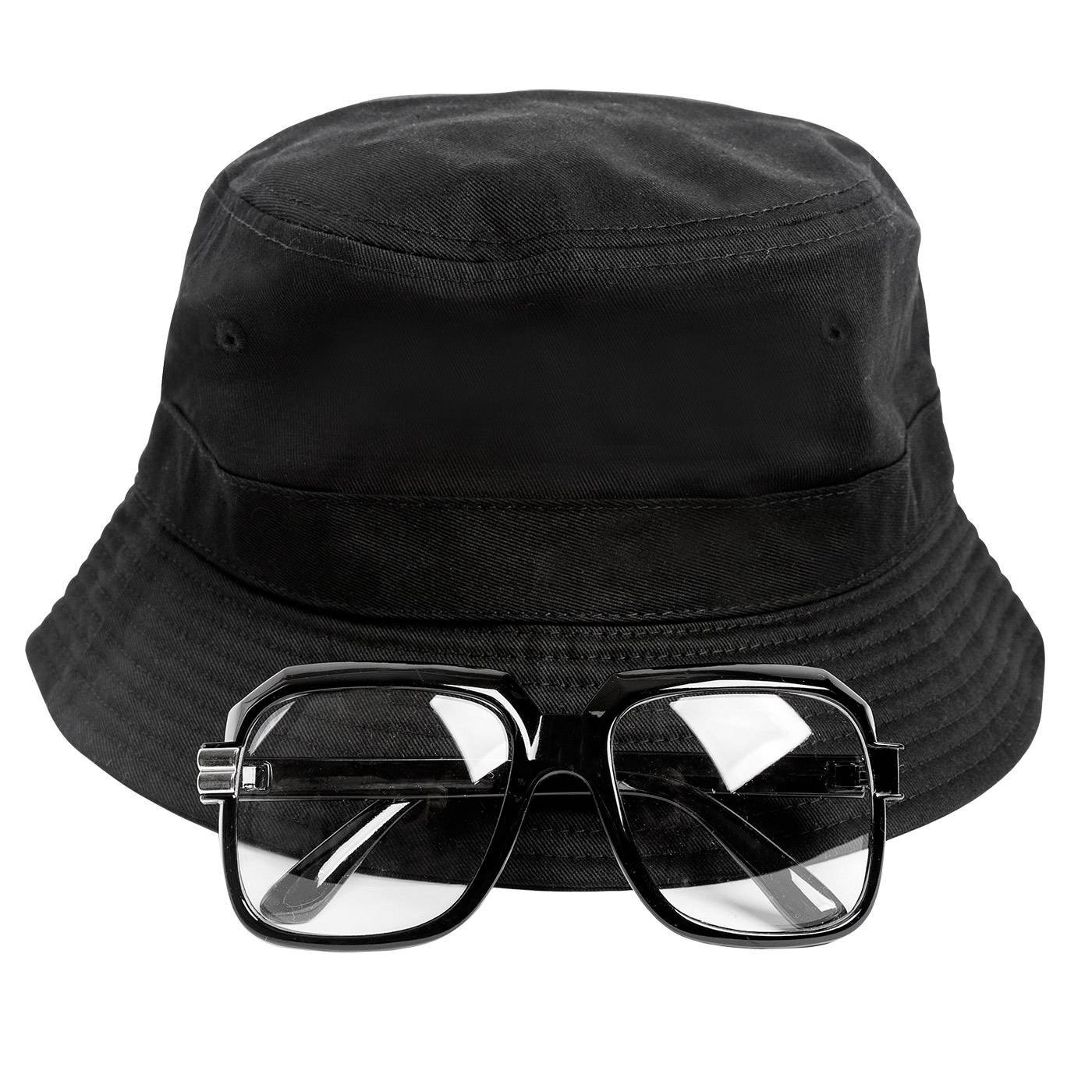 Gravity Trading 80s/90s Hip-Hop Costume Kit (Bucket Hat + Old School Squared Glasses) Black L/XL by Gravity Trading
