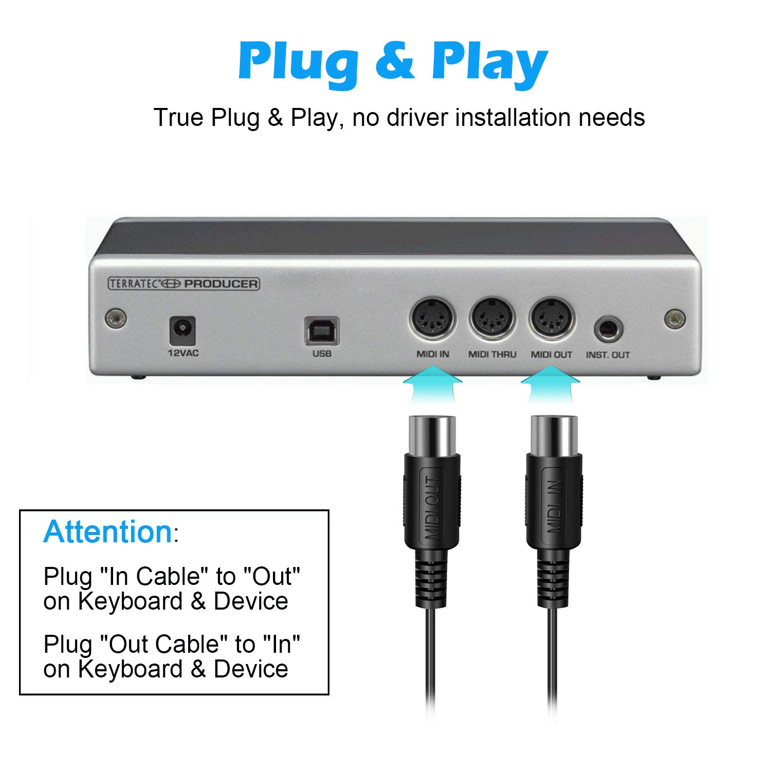 WADEO MIDI Kabel Cable MIDI Cable Converter USB to 2 MIDI ... on usb 2 vs usb 3, usb tower, usb adapter, usb to micro usb, usb connector,