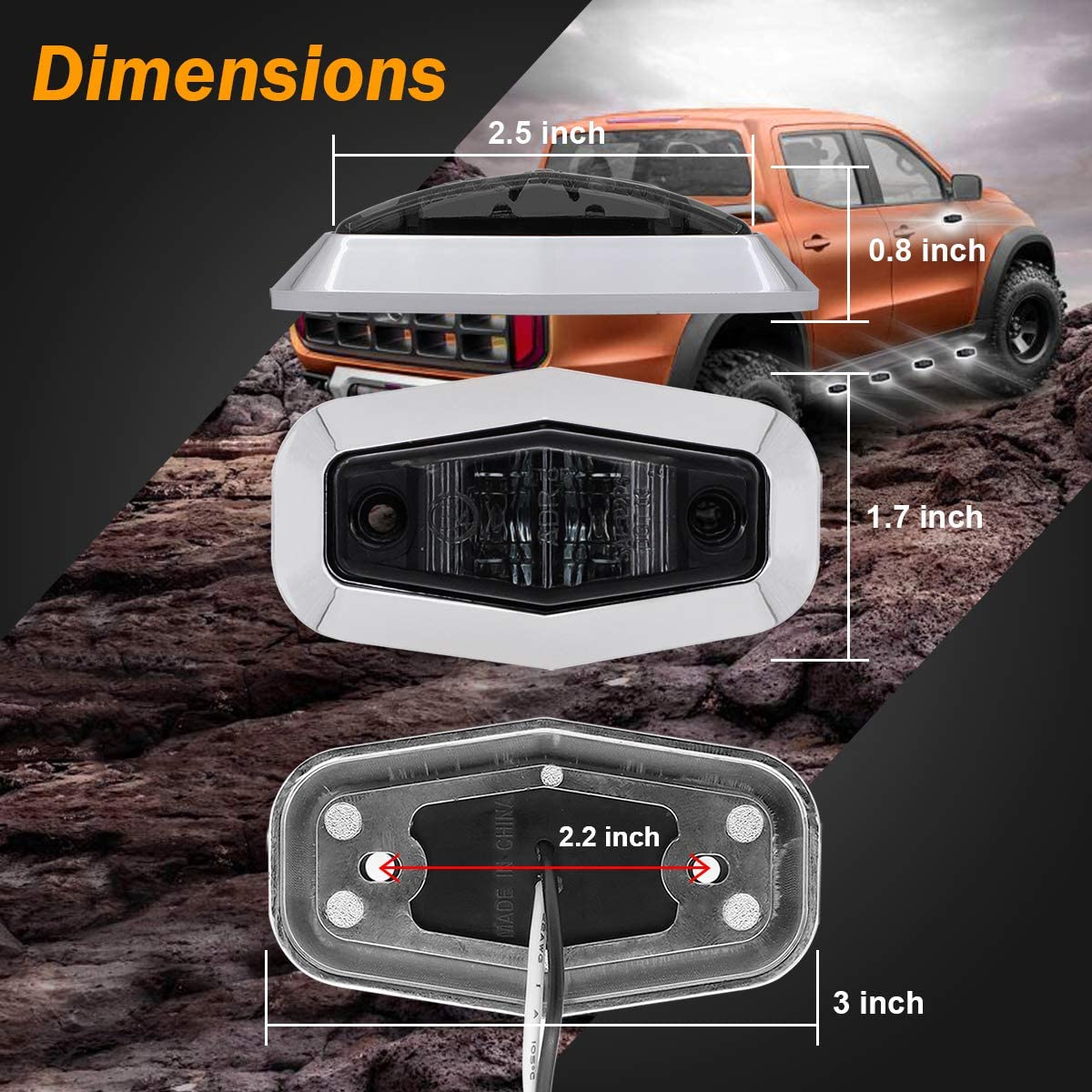 Meerkatt Pack of 10 2.5 Inch Mini Smoked Lens Green LED Surface Mount Side Marker Lights Indicator Clearance Lamp Waterproof Trailer Boat Lorry Truck SUV Camper RV Sealed 12v DC Super Flux Bulb AA12