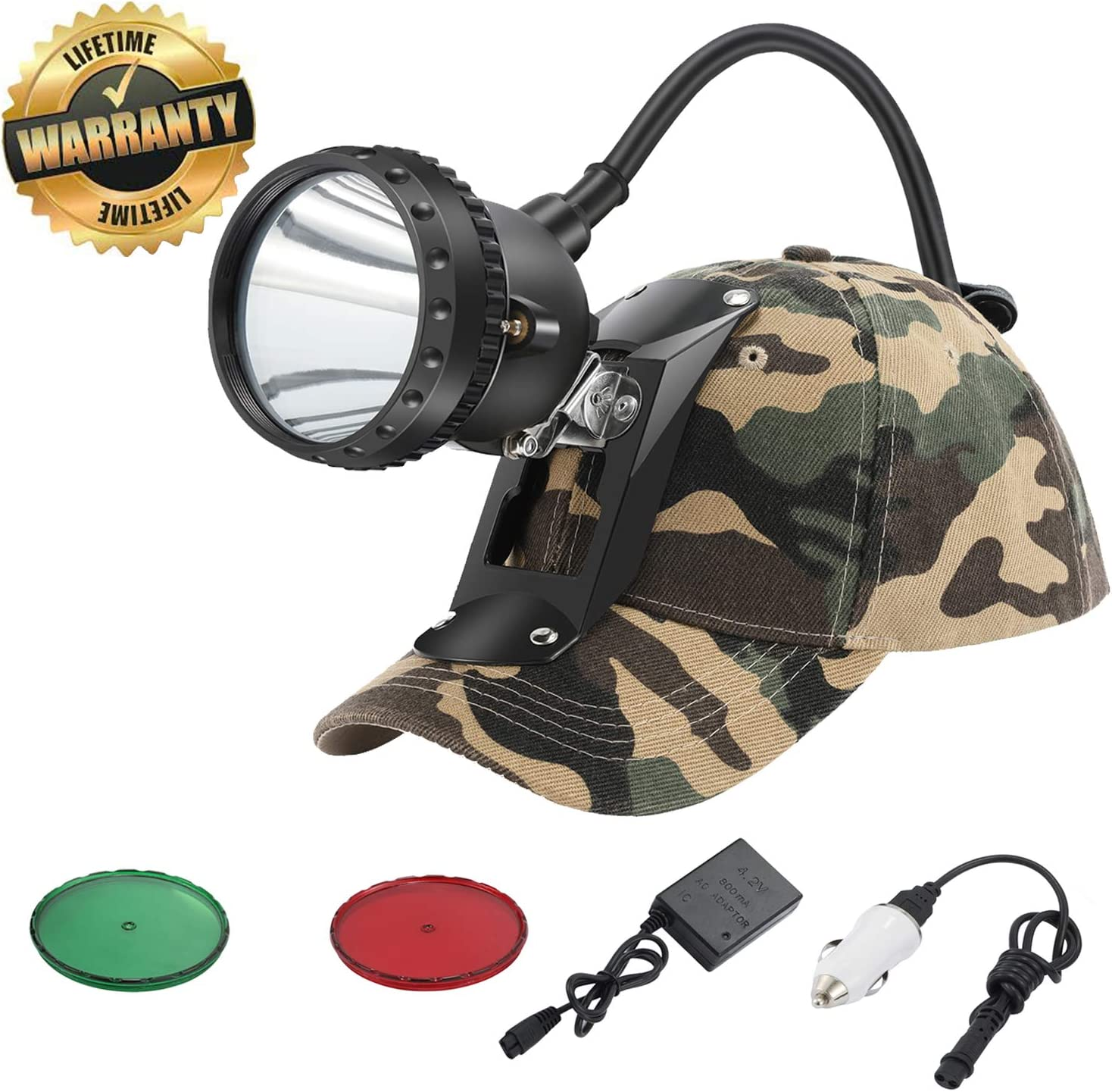GearOZ Headlamp Flashlight, 4 LED Lighting Modes Rechargeable and Waterproof Headlight for Coon Hunting Camping