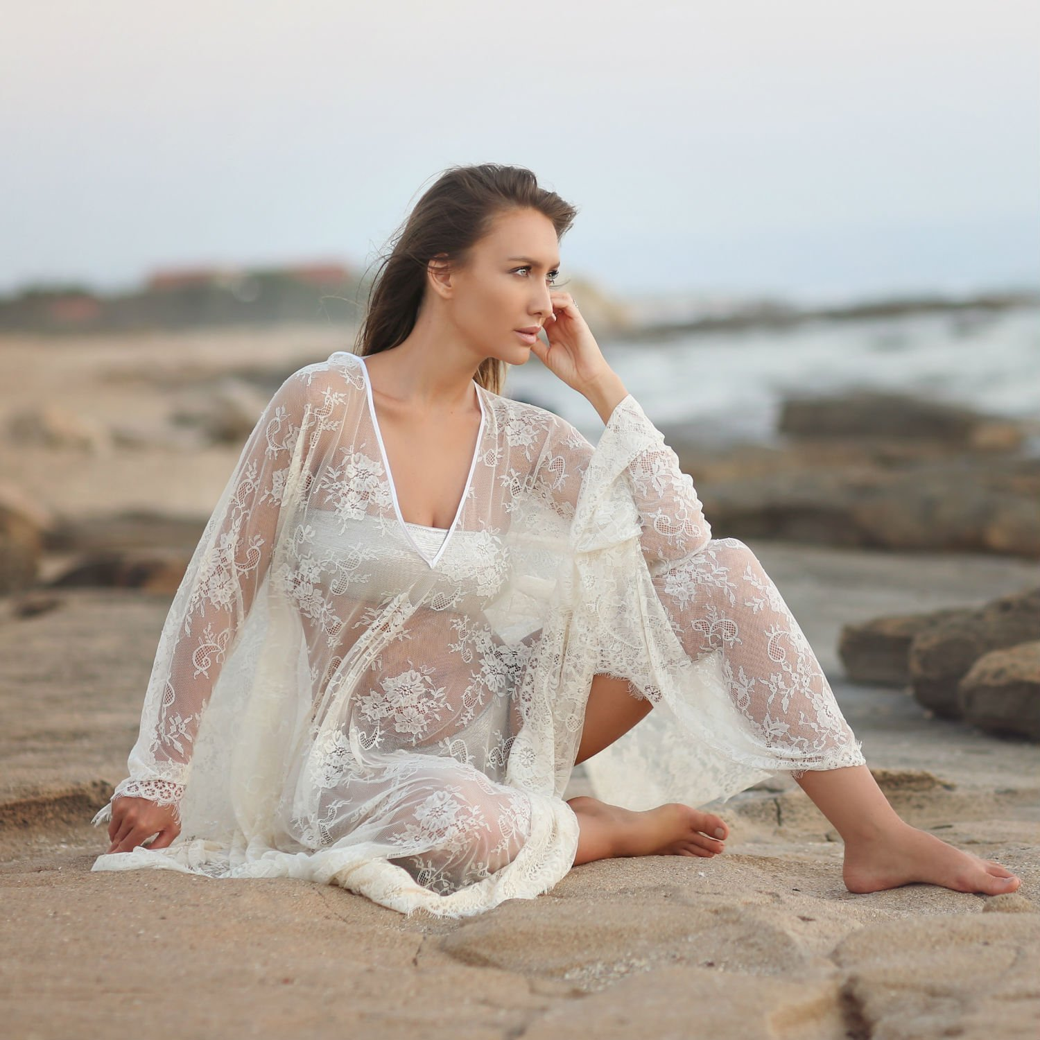 Bridal Kaftan Dress Made of Soft Lace, Boho Beach Dress