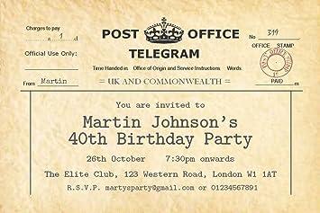 70 personalised birthday party invitations vintage telegram invites