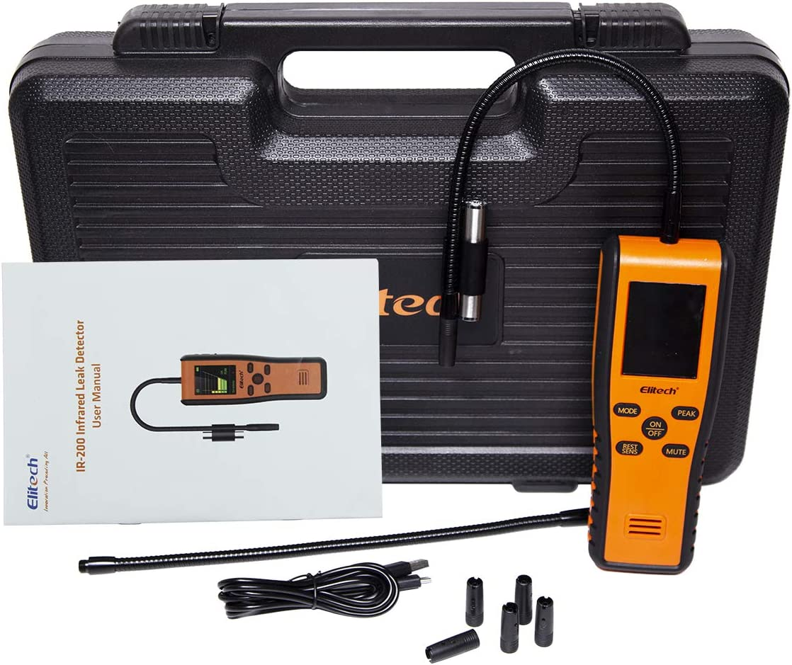 Elitech IR-200 Dual Sensor Infrared/&Heated Diode 2-in-1 Refrigerant Leak Detector Advanced Halogen Leakage Tester High Sensitivity Portable Case 10 Years Life