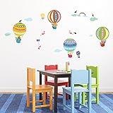 Decowall DA-1710B Montgolfière Animaux Autocollants Muraux Mural Stickers Chambre Enfants Bébé Garderie Salon